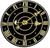 Clock. An old black clock with golden clock face with roman figures and golden watch hands. It is seven past three stock photography