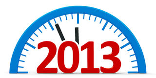 Clock 2013, half. Modern  3d clock on white background represents new year 2013 Royalty Free Stock Photography