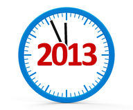Clock 2013, whole. Modern  3d clock on white background represents new year 2013 Stock Photography