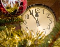 A clock. Christmas decoration with a clock Royalty Free Stock Image