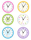 Clock. Collection of different type cute wall clock faces isolated on white background illustration Royalty Free Stock Image