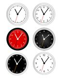 Clock. Collection of different type wall clock faces isolated on white background illustration Royalty Free Stock Photo