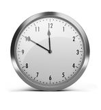 Clock. With a silver rim. 3d image. White background Royalty Free Stock Photos