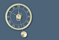 Clock. Pendulum clock on bluish-grey background. 3d illustration Royalty Free Stock Photography