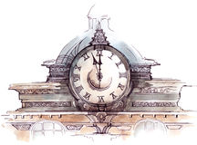 Clock. On the beautiful old building (Cbm painting Royalty Free Stock Photos