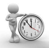 Clock. 3d people - human character, person  and a clock. 3d render Stock Images