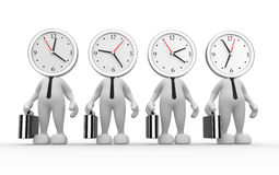 Clock. 3d people - man, person running out of time. A clock Stock Photos