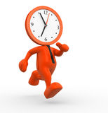 Clock. 3d people - man, person running out of time. A clock Stock Image