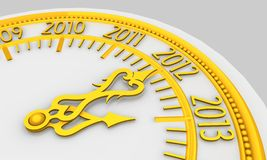 Clock. Golden clock with year 2013 royalty free illustration
