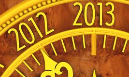 Clock. Golden clock with year 2013 vector illustration