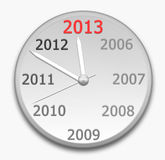 Clock. 2013 Concept New Year Clock on gray stock illustration
