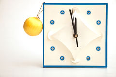 Clock. On a white background with a yellow sphere Stock Images