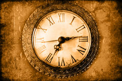Clock. Vintage clock face: hands, wood Royalty Free Stock Images
