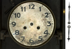 Clock. Very old wooden clock, laws any hour, path stock photography