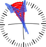 Clock 5 bevor 12. Hand drawn clock face show 5 before 12 royalty free illustration