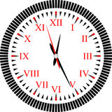 Clock. There is image of clock with red Roman numerals Royalty Free Stock Photos