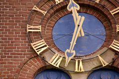 Clock. A clock of a church with roman notation Royalty Free Stock Photo