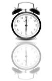 Clock. Vintage clock on glass with white background Stock Image