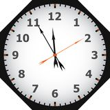 Clock. Face reading about five minutes until twelve Royalty Free Stock Photography