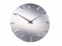 Clock. Modern aluminium clock isolated on white Stock Photography