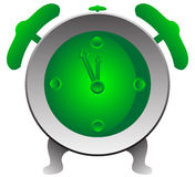 Clock. Green alarm clock, isolated. Vector illustration Royalty Free Stock Photos