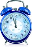 Clock. Blue vintage alarm clock. vector Stock Image