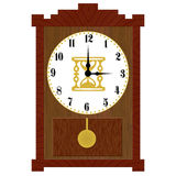 Clock. Illustration of a wooden clock on a white background stock illustration