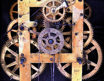 Clock. Detail of a very old clock machine Royalty Free Stock Photos
