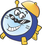 A clock. Cartoon a happy old clock with alarm Royalty Free Stock Image