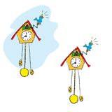Clock. Two funny cuckoo clocks. Vectorial illustrations Stock Images