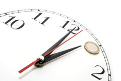 Clock. It is an Euro of coin put onto the dial of a clock Stock Photo