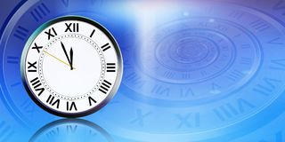 Clock on abstract blue background Stock Photo