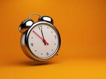 Clock alarm 3D. Time concept. On orange. Background Stock Image