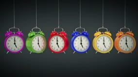 Clock alarm 3D. Time concept. stock video