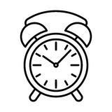 Clock alarm icon black contour on white background of vector illustration Royalty Free Stock Photo