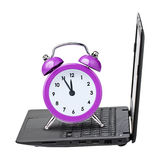 Clock alarm laptop isolated Royalty Free Stock Photos