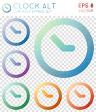 Clock alt geometric polygonal icons. Amazing mosaic style symbol collection. Posh low poly style. Modern design. Clock alt icons set for infographics or Stock Photos