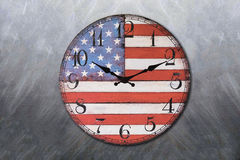Clock with america flag blackboard Royalty Free Stock Images