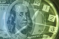 Time is money. Clock and American banknote. Time is money idea Royalty Free Stock Images