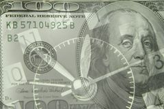 Time is money. Clock and American banknote. Time is money idea Royalty Free Stock Photography