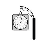 Clock ancient art black vector Royalty Free Stock Images