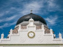 Clock with Arabic Number in Baiturrahman Grand Mosque Banda Aceh. Indonesia royalty free stock photos