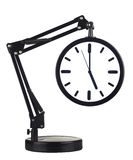 Clock with arm. Black clock with arm showing five o'clock isolated on white background Royalty Free Stock Photo