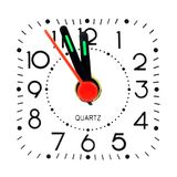 Clock around midnight. Isolated on white background Royalty Free Stock Images