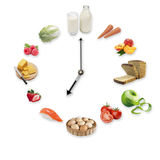 Clock arranged from healthy food products isolated on white background. Healthy food concept. Clock arranged from healthy food products isolated on white royalty free stock image