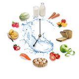 Clock arranged from healthy food products splash by water isolated on white background. Healthy food concept. Stock Image