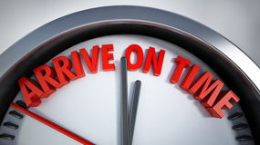 Clock with arrive on time text. 3D illustration Royalty Free Stock Photos