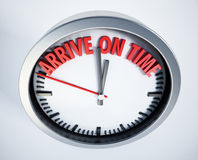 Clock with arrive on time text. 3D illustration Stock Photography