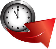 Clock and arrow Stock Image