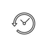 Clock with arrow around line icon Stock Image